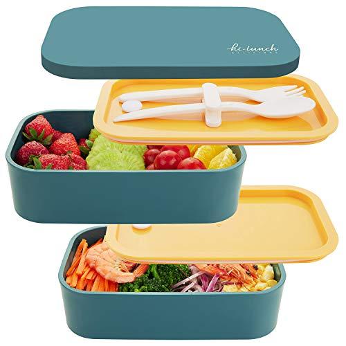 Thousanday Bento-Box Ermetica, Porta Pranzo con 2 Contenitori Ermetici e 1 Divisorio, Lunch Box con Posate Adatto per i Pranzi in Ufficio - Microonde e Lavastoviglie - No BPA (Blu)