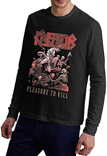 KAYLRR Maglietta da Uomo Kreator per Il Piacere di Uccidere la Copertina dell album Manica Lunga Girocollo Autunno Inverno T-Shirt Confortevole