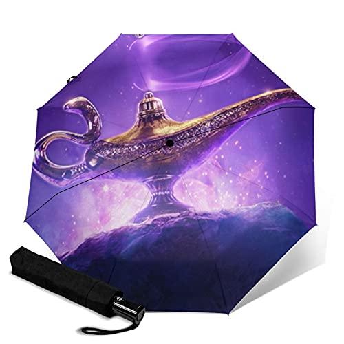 Aladdin Magic Lamp Paraguas automático portátil de tres pliegues, compacto y portátil plegable cortavientos, impermeable y anti-UV