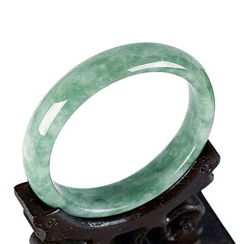 HSUMING Pulsera Brazalete de Jade Verde de Estilo Natural de Jade Brazalete G001 Mujeres Retro Chino (2.08-2.56In)