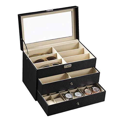 Keliour Caja de almacenamiento de reloj de fibra de carbono con tres capas para gafas y gafas de sol, caja de reloj de piel sintética (color: negro A, tamaño: talla única)