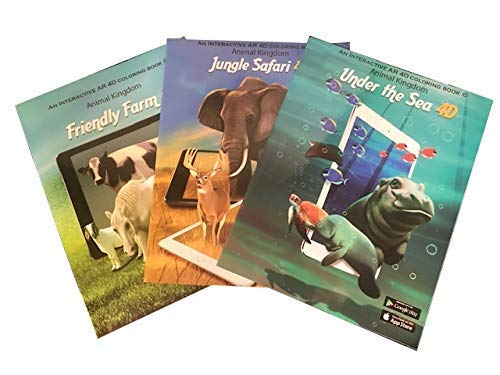 3 Coloring Books For Kids Ages 4-8 - Animals at Sea, Farm animals and Jungle Safari with 3D Augmented Reality (Free iOS/Android Apps) and Crayola Scented Pencils - Twistable Colored Scented Pencils