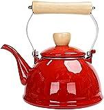 SUOMO Teteras para fogón Kettle Elegante 1.4L Tetera de Esmalte de Esmalte Hervidor de té Rojo Rojo Cocina de inducción Cocina de Inducción Gas Natural Casa de Comedor Tetera
