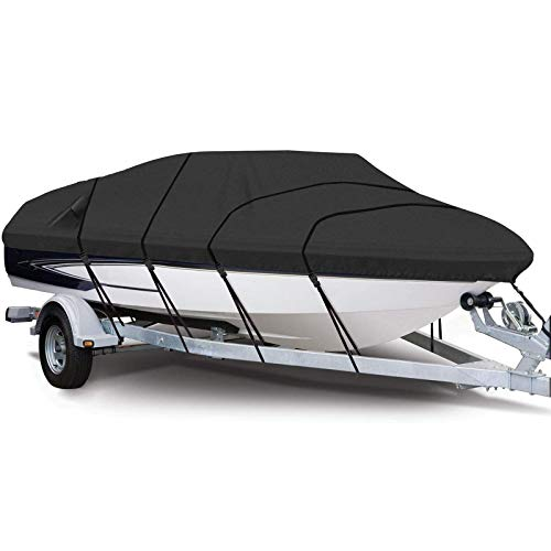 BODOGY-KB Heavy Duty Boat Cover, Waterproof Tear Resistant Oxford Marine Grade Trailerable Runabout Boat Covers Suitable for Outdoor Protection of V-Shaped Boats and Trimaran,21 to 24ft