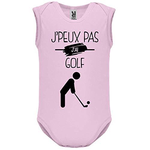 LookMyKase Body bébé - Manche sans - J Peux Pas j AI Golf - Bébé Fille - Rose - 6MOIS