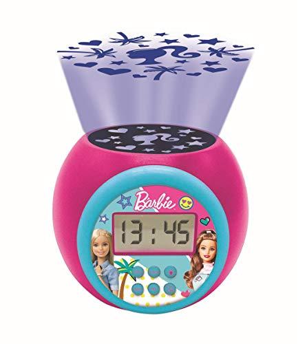 Lexibook RL977BB Projector-Wecker Barbie mit Schlummerfunktion und Weckfunktion, Nachtlicht mit Timer, LCD-Bildschirm, Batteriebetrieb, Rosa