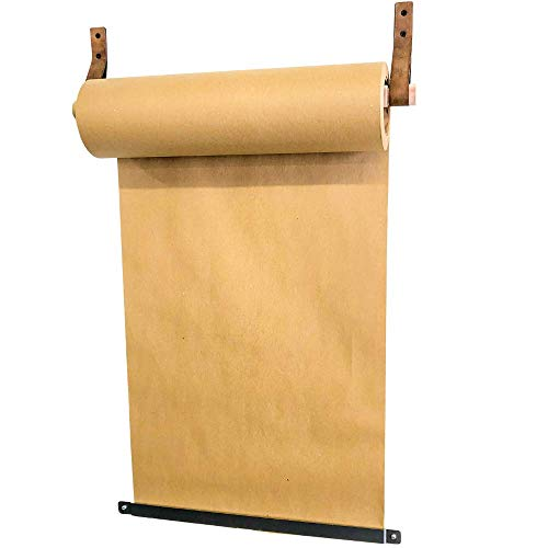 Made in USA by DIY CARTEL - Minimalist Studio Roller - Kraft Butcher Paper Display Dispenser- Authentic Leather Straps & Industrial Raw Steel Paper Roll Cutter