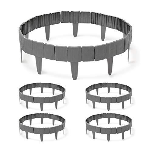 Relaxdays 50 x Rasenkante aus Kunststoff im Set, 12,5 m, Fexible Beeteinfassung, Stein-Optik, Beetumrandung als Stecksystem, grau