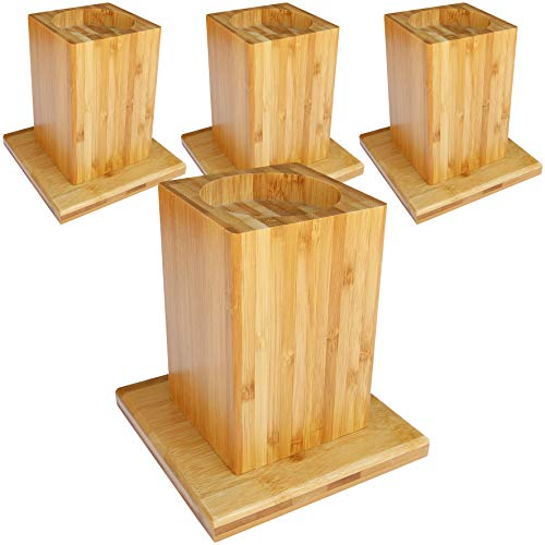 Demase Solid Bamboo Bed & Furniture Raisers - Add 6.5' of Height and Get In and Out of Your Bed with Ease - Set of 4 (Natural)