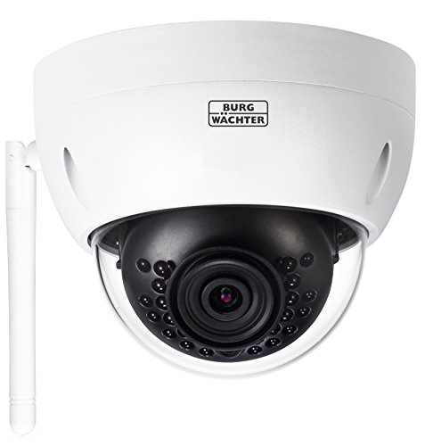 BURG-WÄCHTER WLAN-Kamera mit Festobjektiv,90 Grad Blickwinkel, Bewegungserkennung, BURGcam DOME 303, Weiß
