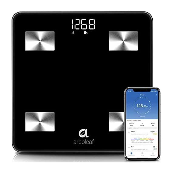 Arboleaf-Weight-Scale-Smart-Scale-Bluetooth-Body-Fat-Scale-Wireless-with-iOS-Android-APP-Unlimited-Users-Auto-Recognition-10-Body-Composition-Analyzer-Fat-BMI-BMR-Muscle-Mass-396-lb-Black