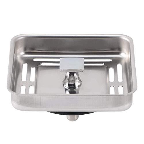 JIAHU Tapón cuadrado para fregadero de acero inoxidable antibloqueo de malla para fregadero de cocina, color plateado 1 unidad