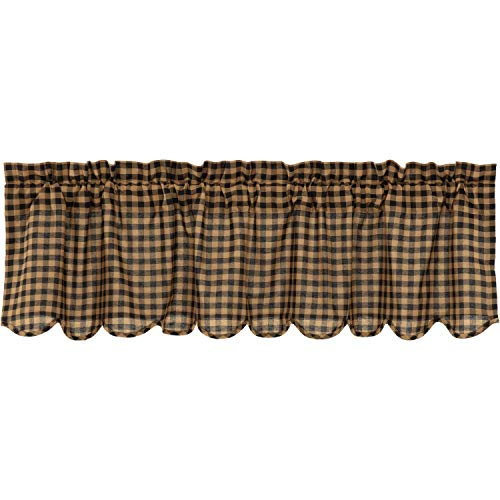VHC Brands Black Check Scalloped Valance 16x60 Country Curtain, Black and Tan