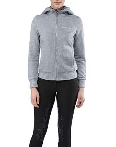 Equiline Sweater Sweatjacke Galway grau mit Kapuze Glitzer Hoodie FS20, Größe:M