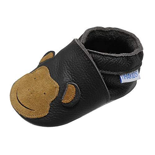 Yihakids Babyschuhe für Mädchen, Jungen, weiches Leder, Babyschuhe, weiches Leder, Schuhe für Mädchen, Jungen, erste Schritte, 0 – 6 Monate – 2 Jahre, - Dunkelbraun. Bär - Größe: 21/22 EU