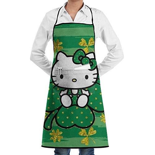 Pag Crane Lucky Hello Kitty Print, Küchenschürze Restaurant Coffee Shop Lätzchen Schürzen mit großer Tasche