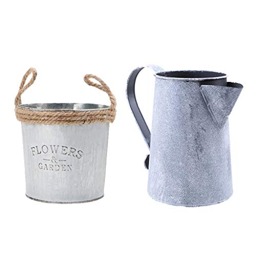 Fenteer 2x Vintage Metal Pewter Flower Bucket Plants Herbal Vases Pot Containers Wedding Decor