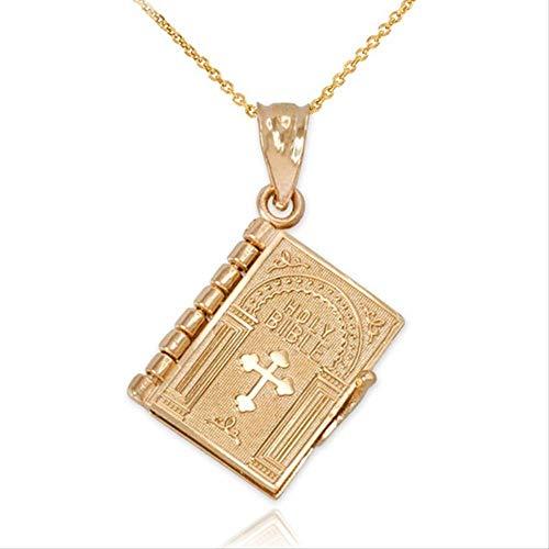 xtszlfj Religión Collar de Mujer Color Dorado Que se Puede Abrir Libro de la Sagrada Biblia Colgante Collares judaísmo Cristiano catolicismo joyería ortodoxa