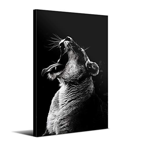 Cuadros Modernos de Animales de Decoración para Salón y Dormitorio - Leona, 80 x 120 cm - Lienzo de Poliéster y Bastidor de Madera, Color Blanco y Negro, LEN-029