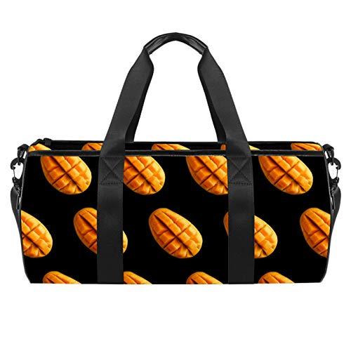Große Reisetasche / Strandtasche, für Sport, Fitnessstudio, Übernachtung, Mango-Frucht-Druck, Schultertasche mit trockenem Nassfach
