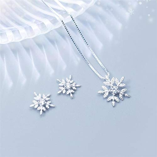 BJGCWY Snowflake Pendant Simple Clavicle Chain Gift 925 Sterling Silver Temperament Personality Female Necklace
