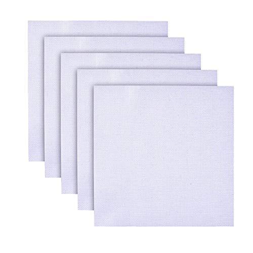 DXIA 5 Pieces Cross Stitch Fabric Set, Reserve Aida Cloth 11 Count White, 45 x 30 cm, Quality Aida Cloth, for Cross-Stitch 11 Count Cross-Stitch Aida Fabric for DIY Wall Decoration