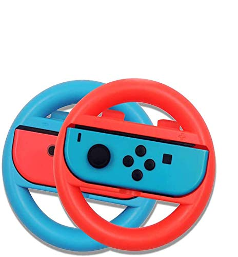 A-VIDET Nintendo switch ハンドル 【2020最新版】Switch マリオカート8 デラックス スイッチレーシングゲーム Nintendo スイッチ ジョイコン (Joy-Con) コントローラー 専用 2個 セット(赤1+青1)