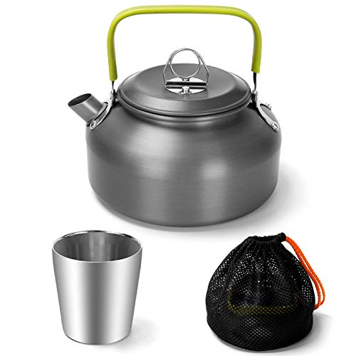 Odoland Camping Teekessel Kaffeekanne Wasserkocher Outdoor Geschirr Set mit 0.8 L Teekanne und 180 ml Edelstahlbecher Camping Kochgeschirr Set idea für Outdoor Picknick Wandern