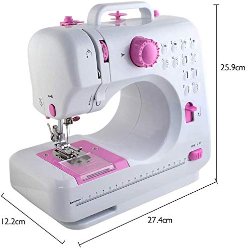 HAITRAL Sewing Machine Silent Portable for Beginner and Children with Foot Pedal and Anti-Skid Leg Essential Household Sewing Tool with 2 Speed 12 Built-in Stitched LED Night Light Neat Job(Pink)