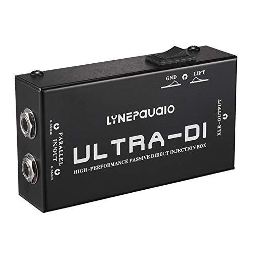Festnight Caja de inyección directa DI-Box pasiva de alto rendimiento Convertidor de señal de audio balanceado y desequilibrado con interfaces XLR TRS para guitarra eléctrica Bajo rendimiento en vivo