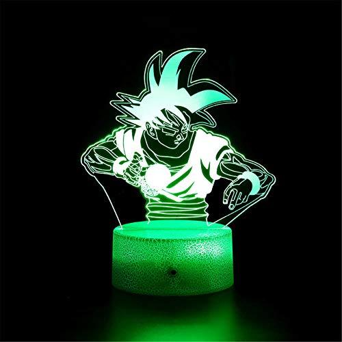 3D LED noche luz 3D ilusión lámpara Dragon Ball Z H con 16 colores intermitente y interruptor táctil USB Powered dormitorio lámpara de escritorio para niños regalos decoración del hogar