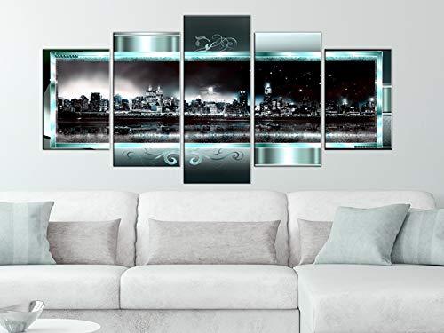 Bilder 200×100 cm – 3 Farben zur Auswahl ! XXL Format! Fertig Aufgespannt TOP Vlies Leinwand – 5 Teilig – New York Abstrakt Wand Bild Bilder Kunstdrucke Wandbild 020111-29 200×100 cm B&D XXL - 2
