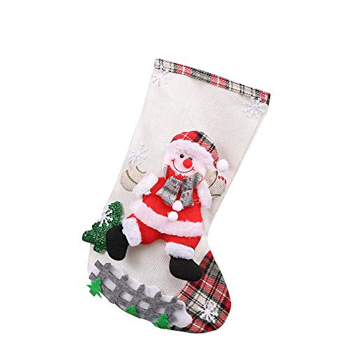 carol -1 Weihnachts-Strumpf Socke hängen Weihnachten Dekoration Weihnachtsmann Schneemann, Rotwild Nikolausstiefel zum Befüllen Weihnachtsstiefel für Kamin Nikolausstrumpf Weihnachtsdeko