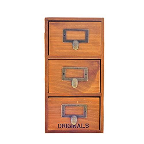 Gabinete de almacenamiento de escritorio retro, caja de almacenamiento de madera antigua, tres cajones, caja de almacenamiento con estante de cajón, caja de madera de almacenamiento multicapa
