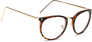 ZEVONDA Fashion Metal Frame Oval Glasses - Unisex Glasses Metal Frame Retro Clear Lens Vintage Geek Oversized Frame Eyelasses