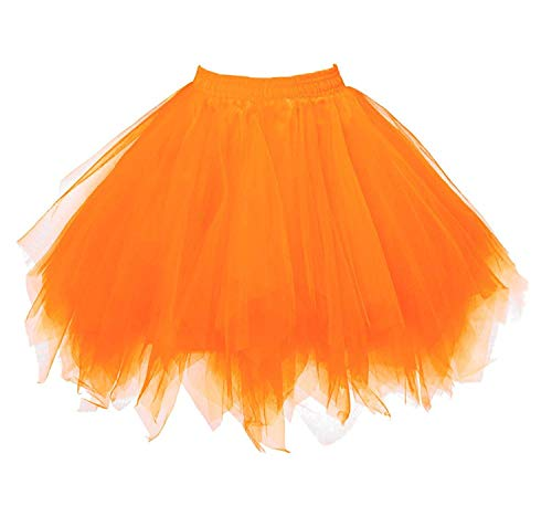 Womens Orange Tutu Skirt Layered Tulle Skirt Adult Halloween Costumes