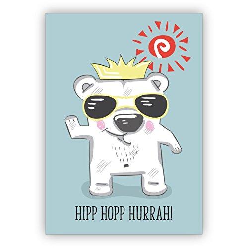 Comische verjaardagskaart met coole feestjes-ijsbeer om te feliciteren: Hipp Hopp Hurrah! • Mooie wenskaarten met enveloppen voor beste vrienden en lievelingsmensen. 1 Grußkarte lichtblauw