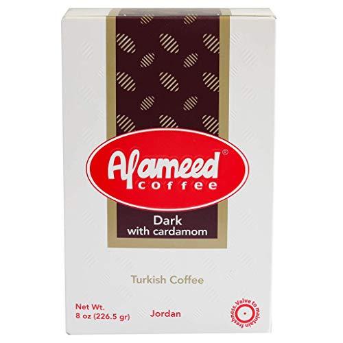 Al Ameed Gourmet Turkish Ground Coffee Dark Roast With Cardamom, 100% Authentic Arabica, Fresh & Finely Ground, 8oz