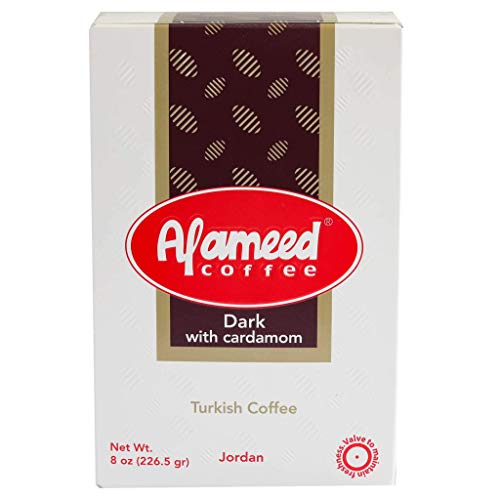 Al Ameed Gourmet Turkish Ground Coffee Dark Roast With Cardamom, 100% Authentic Arabica, Fresh & Finely Ground, 8 oz