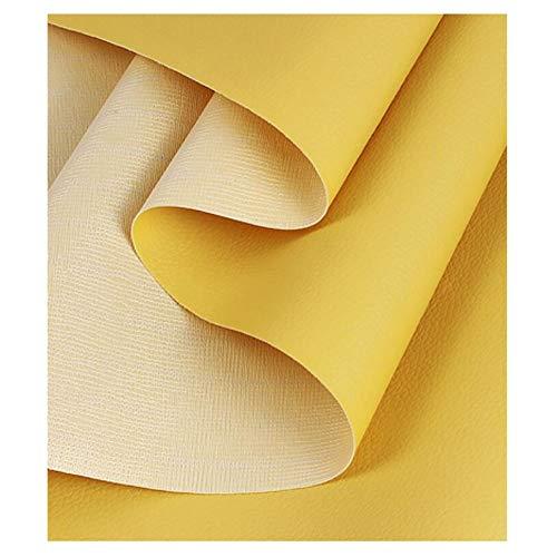 NXFGJ Leder Stoff Kunstleder Lederimitat Lederstoff Polsterstoff Möbelstoff Meterware Bezugsstoff - 1,38 × 1m (4.5ft × 3.3ft) (Color : Yellow, Size : 1.38×3m)