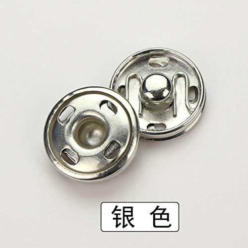 XUNZHE 100 sets metalen knoppen Drukknoppen zwart goud verzilverde knopen voor damesgespen DIY naai accessoires voor kleding, zilver, 18 mm