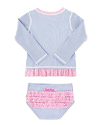 RuffleButts Baby/Toddler Girls Periwinkle Seersucker Long Sleeve Rash Guard Bikini - 12-18m