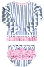 RuffleButts Baby/Toddler Girls Periwinkle Seersucker Long Sleeve Rash Guard Bikini - 12-18m