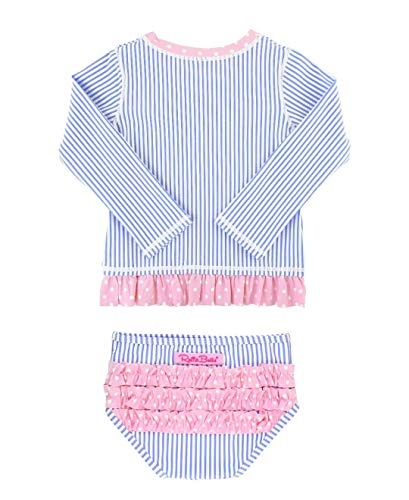 RuffleButts Girls Periwinkle Seersucker Long Sleeve Rash Guard Bikini - 3T