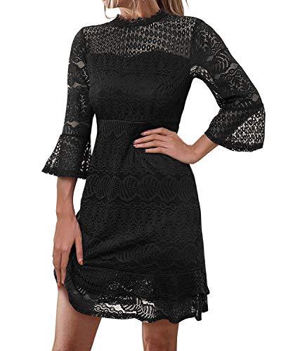 ABYOXI Damen Volantkleid Party Spitzenkleid Elegant Lochmuster Minikleid Brautkleid Cocktail Ballkleid Schwarz # L