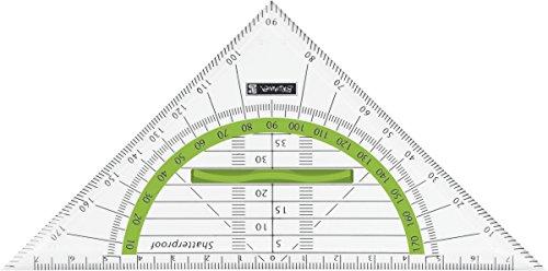 Brunnen 104975952 Geometrie-Dreieck Colour Code (für Schule und Büro, 16 cm, bruchsicher, ergonomischer Griff) grün / kiwi