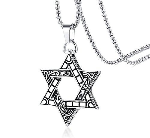 HUANIAN - Collana con ciondolo a forma di stella di David, in acciaio inox, da donna, uomo, con catena in argento e Acciaio inossidabile, colore: Oro, cod. S-PN-891G