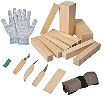 ATPWONZ 16 Pcs Wood Carving Whittling Kit 6 Pieces Wood Carving Tools Set and 10 Pieces Basswood Carving Blocks for Spoon Bowl Or General Woodwork Suitable for Kids or Adults Beginner to Expert