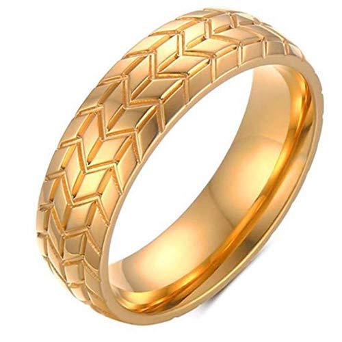 Anillo de acero inoxidable de color plateado dorado de 6MM Anillos de neumático de motocicleta frescos para hombres Hip Hop Punk Anillo de rayas geométricas Alianza de boda, 10, oro