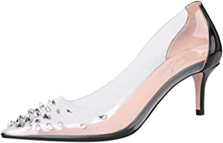 Cdvintu Women Pointed Toe Spike Low Heels Clear PVC Pumps Studed Transparent 2.5inch Slip On Patent Leather Dress Shoes for Wedding Party